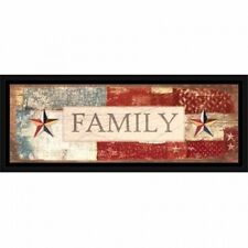 Family Wood Grain Americana Folk Primitive Inspirational Sign Red & Blue, Framed