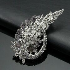 Hot Large Silver Crystal Flower Brooch Rhinestone Diamante Wedding Bridal Broach