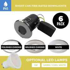 6 X FIRE RATED IP65 SHORT CAN DOWNLIGHTS RECESSED BATHROOM / SHOWER SPOTLIGHTS
