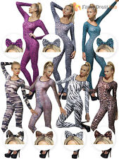 Adult Bodysuit + Bow Skin Catsuit Sexy Ladies Fancy Dress Costume Animal Army