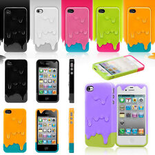 Colorful 3D Melt Ice Cream Back Case Cover For Apple iPhone 4S 5S Hard Snap On