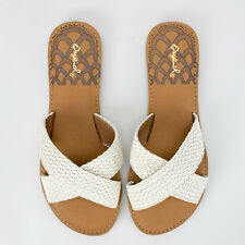 Women's Stone Braided Slip-On Sandals Qupid Shoes Athena-1004A
