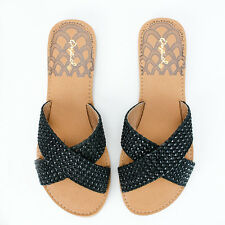 Women's Black Braided Slip-On Sandals Qupid Shoes Athena-1004A
