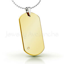 0.07ct Citrine Pendant,Yellow Gold Plated Dog Tag Tungsten Carbide Pendant 264BS