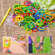 600Pcs DIY Rainbow Color Refill Rubber Loom Bands Bracelet Making Kit with Clips