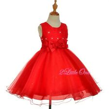 Round Necked Diamond Pageant Dress Wedding Flower Girl Birthday Red Sz 2T-8 #315
