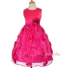 Sequined Embossed Flower Girl Dress Wedding Pageant Party Occasion Sz 4-10 FG287