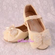 Beads Lather Ballet Slipper Shoes US Size 8.5-1.5 Flower Girl Pageant Party #015