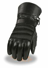 MEN'S MOTORCYCLE GLOVES RIDING GLOVE INSULATED RAIN COVER GAUNTLET SOFT LEATHER