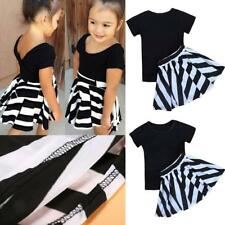 Girls Summer Dress Short Sleeves T-shirt with Black White Striped Skirt Outfits