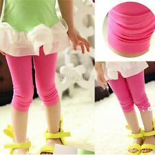 2-7Y Sweet Kids Girls Summer Solid Cotton Tight Cropped Capris Leggings Pants