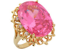 10k / 14k Yellow Gold Simulated Pink Tourmaline White CZ Bold Ladies Ring
