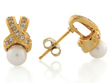 10k / 14k Yellow Gold Freshwater Cultured Pearl White CZ Pretty Post Earrings