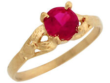 10k / 14k Yellow Gold Simulated Ruby Petite Ladies Ring