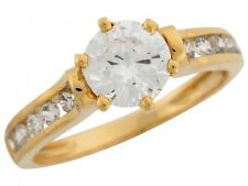 10k / 14k Yellow Gold Round CZ Channel Set Side Stone Ladies Engagement Ring