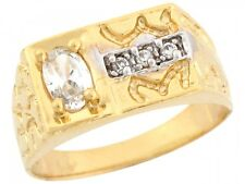 10k / 14k Real Yellow Gold White CZ Nugget Style Band Mens Ring