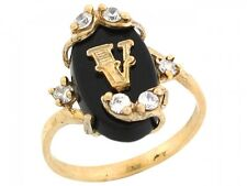 10k / 14k Real Yellow Gold Onyx Letter V Initial with CZ Accents Ring