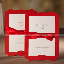 Classic Pretty Wedding Invitations Cards With Ribbon Sash And Envelopes, Seals