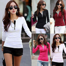 Women Slim Fit Button Top Long Sleeve Splicing Shirt Gorgeous Casual Blouse Tee