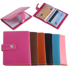 20 Slots ID Business Credit Card Holder Women Men Gorgeous Faux Leather Case
