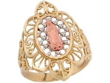 10k / 14k Tri Color Real Gold Virgin Mary Guadalupe Filigree Religious Ring