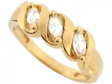 10k / 14k Real Solid Gold Marquise Sparkling CZ 3 Stone Anniversary Ring