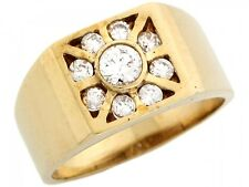 10k / 14k Yellow Gold Mens Round Cut CZ Square Cluster Ring