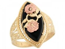 10k / 14k Solid Two Tone Gold Rose Gold Flower Filigree Marquise Onyx Ring