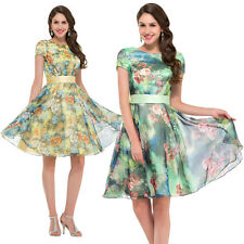 Women's Vintage 50s 60s Floral Formal Cocktail Evening Party Causal Short Dress