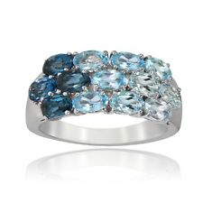 Glitzy Rocks Sterling Silver Sky Swiss and Blue and London Blue Topaz Band Ring.