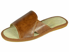 Mens Ecological Leather Slippers Sandals, Flip Flops Brown Size 6 7 8 9 10 11 12