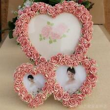 Retro Style Double Hearts Resin Photo Holder Pink Rose Flower Home Picture Frame