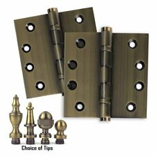 Set of 2 Door Hinges 4 x 4, Extruded Solid Brass Ball Bearing Antique Brass US5