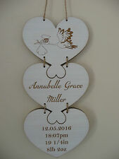 Personalised Wooden New Baby Plaque Shabby Birth Name Boy Girl Heart Sign Gift