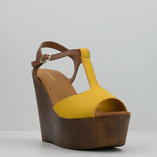 Women's Yellow Peep Toe T-Strap Bamboo Shoes Wooberry-01