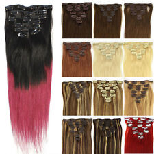 "18""7PCS 70g Clip In Real Remy Human Hair Extensions Ombre Hair Straight Full"
