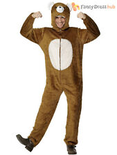 Adult Bear Costume Mens Ladies Animal Fancy Dress Onesie Zoo Wild Grizzly Outfit