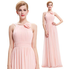 Chiffon PINK Long Prom Bridesmaid Cocktail Party Dress Formal Evening Ball Gown