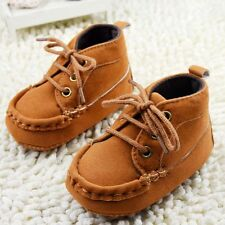 New Toddler infant Baby girls boys Brown Crib Shoes Soft sole Size 0-18 Months