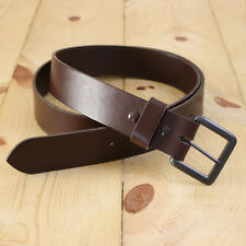 "Handmade Full Grain Leather Belt_1.5"" Mens Belt_Gun metal - Brass Buckle"