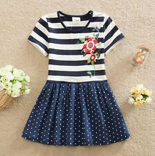 Girls Stripey & Polka Dot Summer Dress - Age 3 4 5 6 7 Years Kids Party Clothes