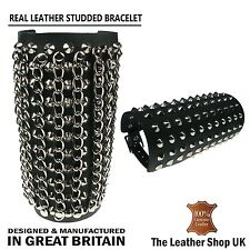 New Adjustable Black Gothic Punk Conical Chain Metal Studded Leather Wristband