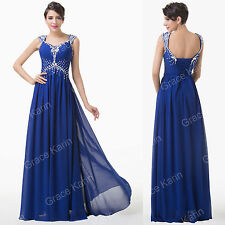 Long Chiffon Evening Cocktail Ball Gown Blue Bridesmaid Dress Formal Party Prom