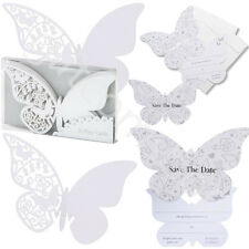 Luxury Butterfly White Place Name Cards & Butterfly Save The Date Wedding Cards