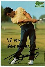 Seve Ballesteros hand-signed Lacoste Promotional Card