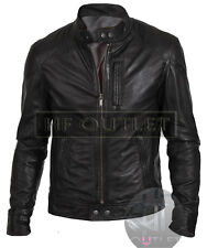 Men's Black Biker Stylish Biker Style Real Leather Jacket - All Sizes