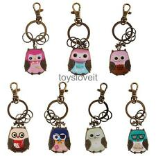 Vintage Owl Charm Pendant Bronze Keyring Keychain Key Chain Hanging Accessories