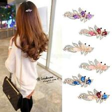 Lady Fashion Crystal Rhinestone Butterfly Bride Hair Barrette Clip Hairpin Gold