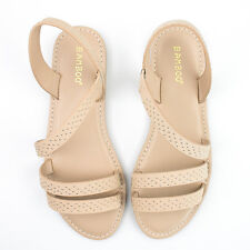 Women's Nude Silver Stud Cross Strap Sandal Bamboo Shoes Bayside-58V
