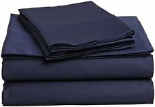 1000 Thread Count Egyptian Cotton 5pcs Duvet Cover Set Navy Blue Solid
